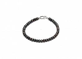 Bransoleta, perły grafitowe hodowane, słodkowodne okrągłe 4-4,5mm, zapięcie srebrne