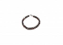 Bransoleta, perły brązowe hodowane, słodkowodne barok 7-7,5mm, zapięcie srebrne