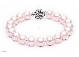 Bransoleta, perły różowe (jasne) shell 8mm, zapięcie posrebrzane