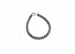 Bransoleta, perły zielone hodowane, słodkowodne okrągłe 5-5.5mm, zapięcie srebrne