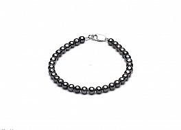 Bransoleta, perły grafitowe hodowane, słodkowodne okrągłe 4-4.5mm, zapięcie srebrne