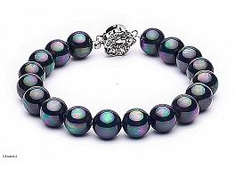Bransoleta, perły grafitowe shell 8mm, zapięcie posrebrzane
