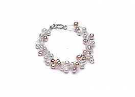 """Bransoleta """"pajęczynka"""" 10 żyłek, perły białe i łososiowe hodowane, słodkowodne okrągłe 5-5,5mm, zapięcie srebrne"""
