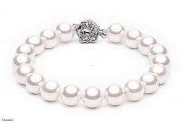 Bransoleta, perły białe shell okrągłe 10mm, zapinka posrebrzana