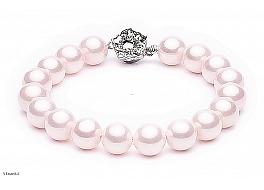 Bransoleta, perły jasnoróżowe shell okrągłe 10mm, zapinka posrebrzana