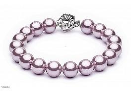 Bransoleta, perły różowe shell okrągłe 10mm, zapinka posrebrzana