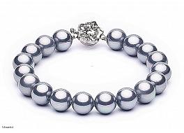 Bransoleta, perły szarych shell okrągłe 10mm, zapinka posrebrzana