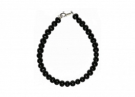 Bransoleta, perły czarne hodowane, słodkowodne okrągłe 6-6.5mm, zapięcie srebrne