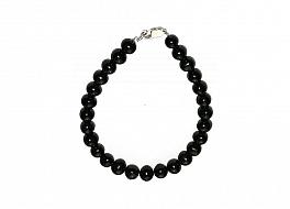 Bransoleta, perły czarne hodowane, słodkowodne okrągłe 8-8.5mm, zapięcie srebrne