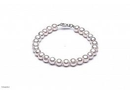 Bransoleta, perły białe hodowane, słodkowodne okrągłe 6-6,5mm, zapięcie srebrne
