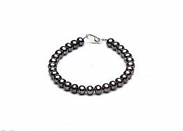 Bransoleta, perły grafitowe hodowane, słodkowodne okrągłe 6-6,5mm, zapięcie srebrne