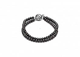 Bransoleta podwójna, perły grafitowe hodowane, słodkowodne okrągłe 4-4,5mm, zapięcie srebrne rodowane