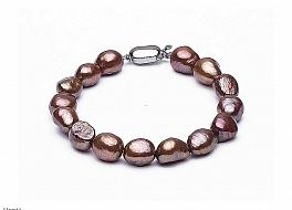 Bransoleta, perły brązowe hodowane, słodkowodne barok 10-11mm, zapięcie srebrne
