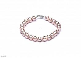 Bransoleta, perły łososiowe hodowane, słodkowodne okrągłe 7-7.5mm, zapięcie srebrne
