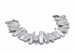 Bransoleta, perły białe hodowane, słodkowodne   15-20mm, zapięcie srebrne