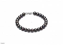 Bransoleta, perły grafitowe hodowane, słodkowodne okrągłe 7-7.5mm, zapięcie srebrne