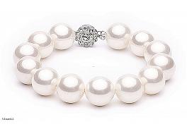 Bransoleta, perły białe shell, wielkość 14mm, zapięcie posrebrzane
