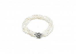 """Bransoleta """"zwijaniec"""" z pereł naturalnych białych hodowanych, słodkowodnych wielkości 6-6,5mm, nieregularnych"""