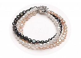 """Bransoleta """"zwijaniec"""" z pereł naturalnych hodowanych, słodkowodnych w trzech kolorach,wielkości 6-6,5mm, nieregularnych"""