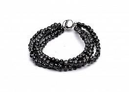 Bransoleta - zwijaniec, perły czarne hodowane, słodkowodne barokowe 5-5.5mm, zapięcie srebrne