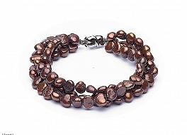 Bransoleta potrójna, perły brązowe hodowane, słodkowodne nieregularne 6.5-7mm, zapięcie srebrne rodowane