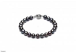 Bransoleta, perły grafitowe hodowane, słodkowodne okrągłe 6-6.5mm, zapięcie srebrne rodowane