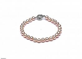 Bransoleta, perły łososiowe hodowane, słodkowodne okrągłe 6-6.5mm, zapięcie srebrne rodowane