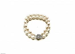 Bransoleta podwójna, perły białe hodowane, słodkowodne podłużne 8-9mm, zapięcie posrebrzane