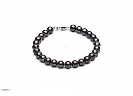 Bransoleta, perły grafitowe hodowane, słodkowodne okrągłe 8-8.5mm, zapięcie srebrne