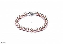 Bransoleta, perły łososiowe hodowane, słodkowodne okrągłe 7-7.5mm, srebro rodowane