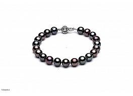 Bransoleta, perły hodowane, słodkowodne okrągłe grafitowe, wielkości 7-7.5mm, srebro rodowane