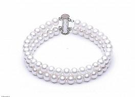 Bransoleta podwójna, perły białe hodowane, słodkowodne okrągłe 6-6.5mm, zapięcie srebrne rodowane