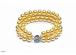 Bransoleta potrójna, perły shell w kolorze złotym, okrągłe 8mm, zapięcie ozdobne posrebrzane