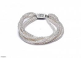 Bransoleta zwijaniec, perły białe hodowane, słodkowodne okrągłe 4-4,5mm, zapięcie srebrne
