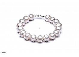 Bransoleta, perły białe okrągłe hodowane, słodkowodne 11-11,5mm, zapięcie srebrne
