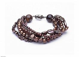 Bransoleta z brązowych pereł różnego kształtu, zapięcie srebrne rodowane