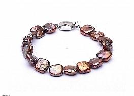 Bransoleta, perły brązowe hodowane, słodkowodne kwadratowe 9-10mm, zapięcie srebrne rodowane