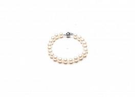 Bransoleta, perły białe hodowane, słodkowodne okrągłe 8-8.5mm, zapięcie srebrne rodowane