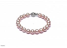 Bransoleta, perły łososiowe hodowane, słodkowodne okrągłe 8-8.5mm, zapięcie srebrne rodowane