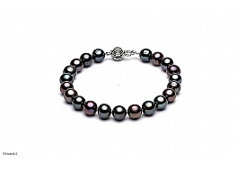 Bransoleta, perły czarne hodowane, słodkowodne okrągłe 8-8.5mm, zapięcie srebrne rodowane