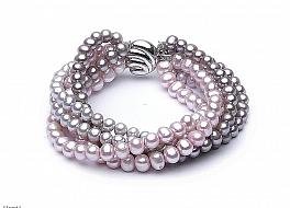 Bransoleta zwijaniec, perły hodowane, słodkowodne kolorowe okrągłe 6mm, zapięcie srebrne