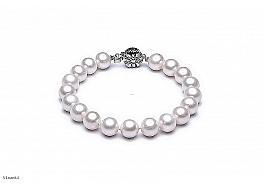 Bransoleta, perły białe hodowane, słodkowodne okrągłe 8- 9mm, zapięcie srebrne rodowane