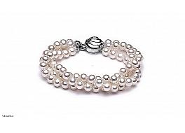 Bransoleta, perły białe hodowane, słodkowodne okrągłe 6-6.5mm, zapięcie srebrne rodowane