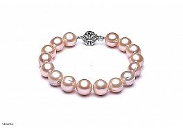 Bransoleta, perły łososiowe hodowane, słodkowodne okrągłe 10-11mm, zapięcie srebrne rodowane