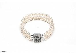 Bransoleta potrójna, perły białe hodowane, słodkowodne okrągłe 5-5,5mm z zapięciem ze srebra rodowanego
