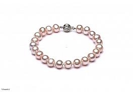 Bransoleta, perły łososiowe hodowane, słodkowodne okrągłe 7-7.5mm, zapięcie złote