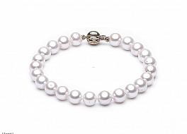Bransoleta, perły białe hodowane, słodkowodne okrągłe 8-8.5mm, zapięcie złote