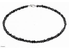 Naszyjnik, perły czarne hodowane, słodkowodne barok 4-4,5mm, zapięcie srebrne