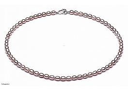 Naszyjnik, perły łososiowe hodowane, słodkowodne 4-5mm, zapięcie srebrne
