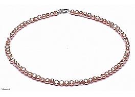 Naszyjnik, perły łososiowe hodowane, słodkowodne barok 4-4,5mm, zapięcie srebrne